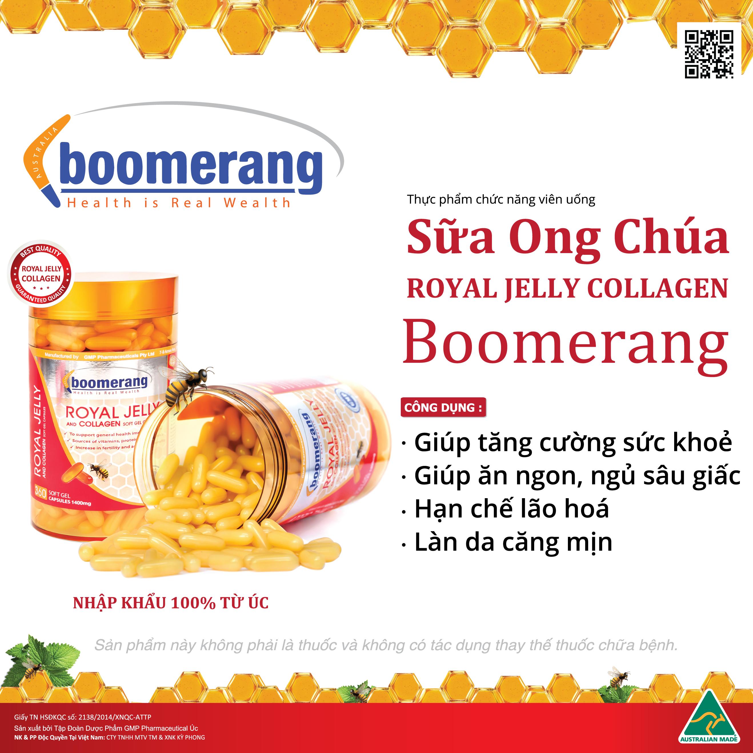 viên uống sữa ong chúa và collagen Boomerang